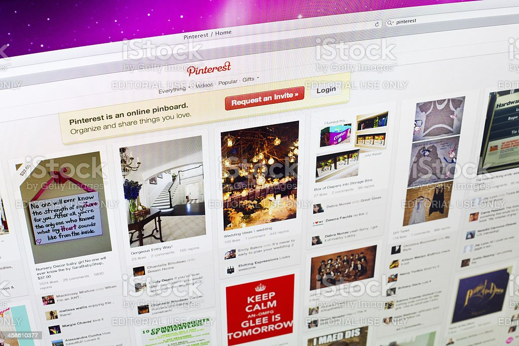 Pinterest Home Page stock photo