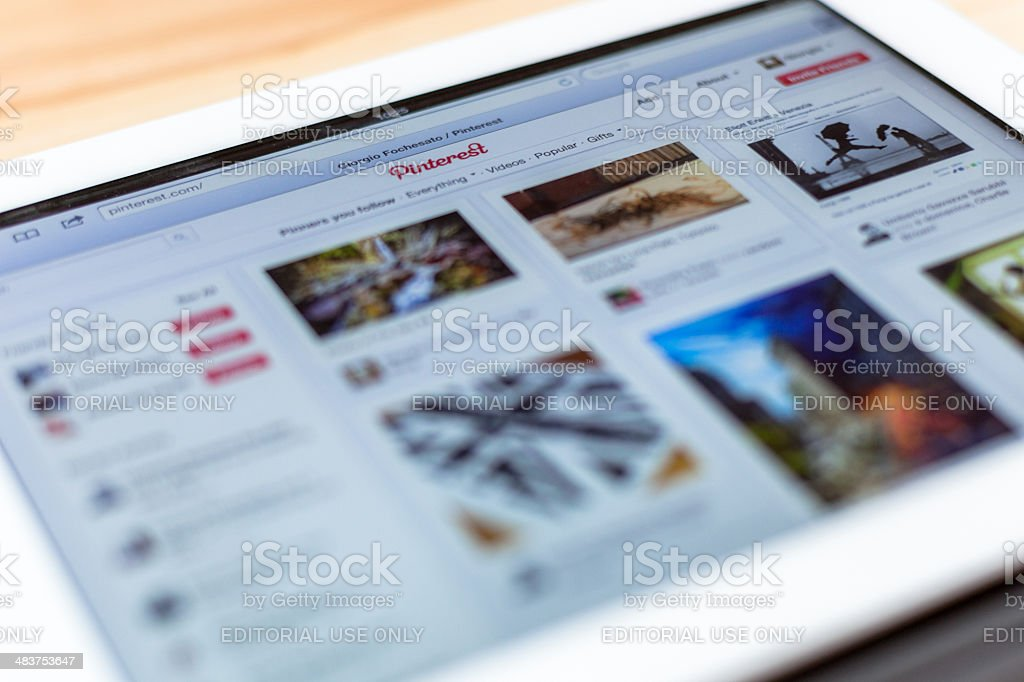 Pinterest on an iPad 3 stock photo