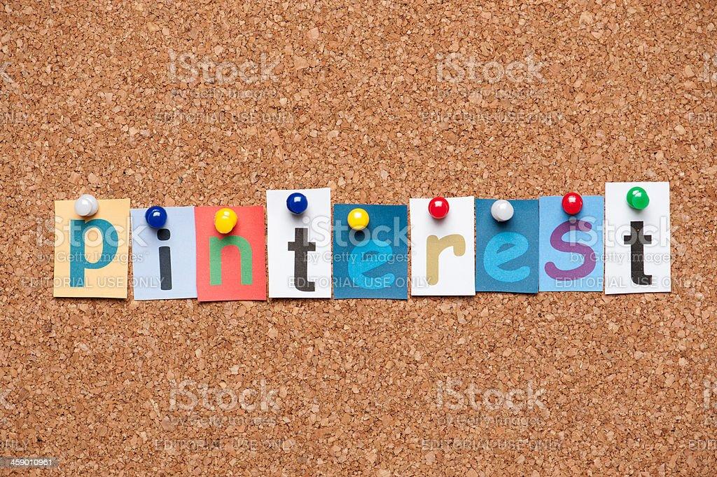 Pinterest on corkboard stock photo