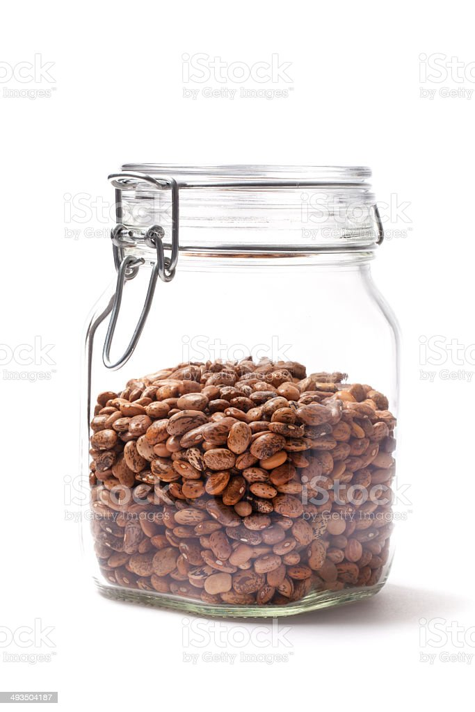 Pinto Beans In A Closed Jar stock photo