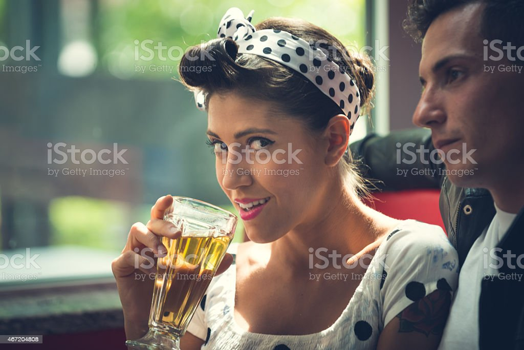 Pinup and Rockabilly Couple - 1950's style stock photo