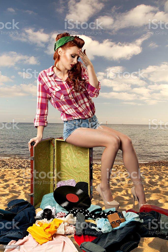 pin-up girl at the resort. stock photo