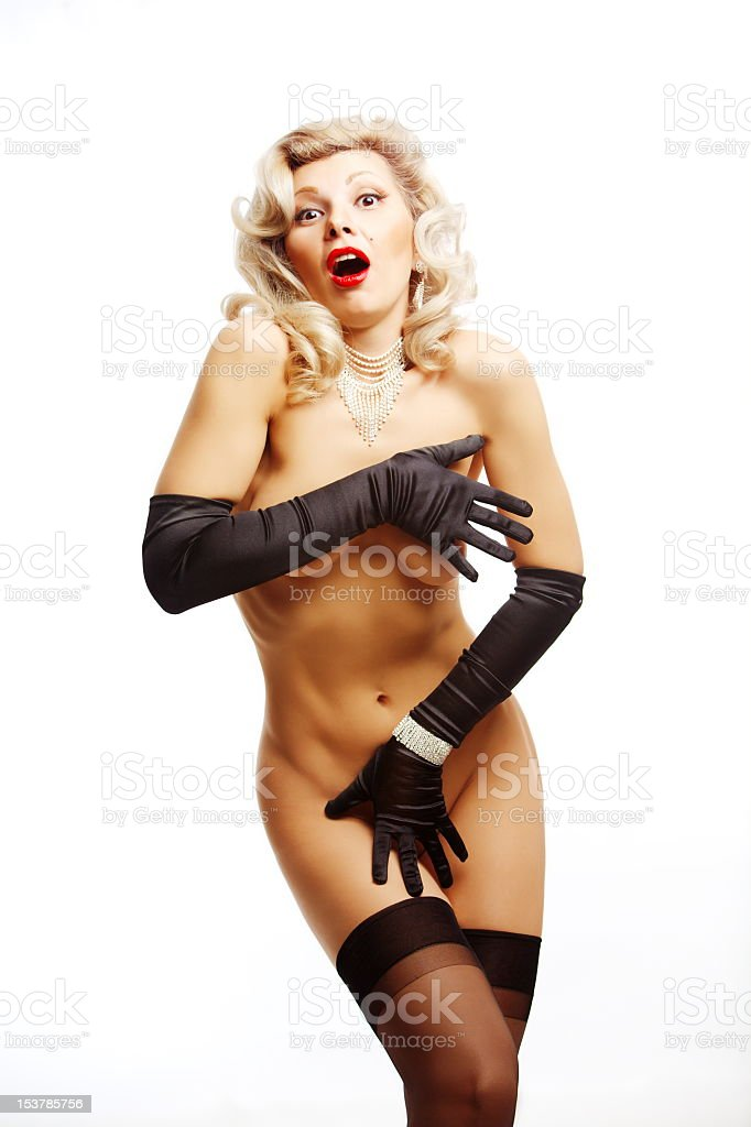 Pin-up girl hidding with gloves stock photo