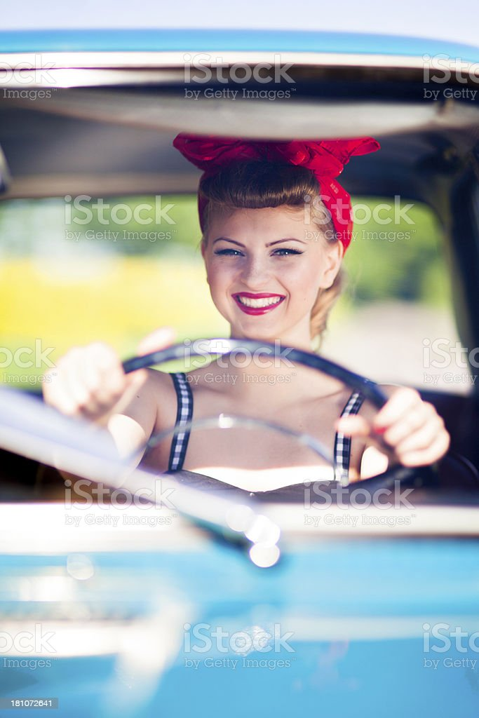 Pin-up girl in car royalty-free stock photo