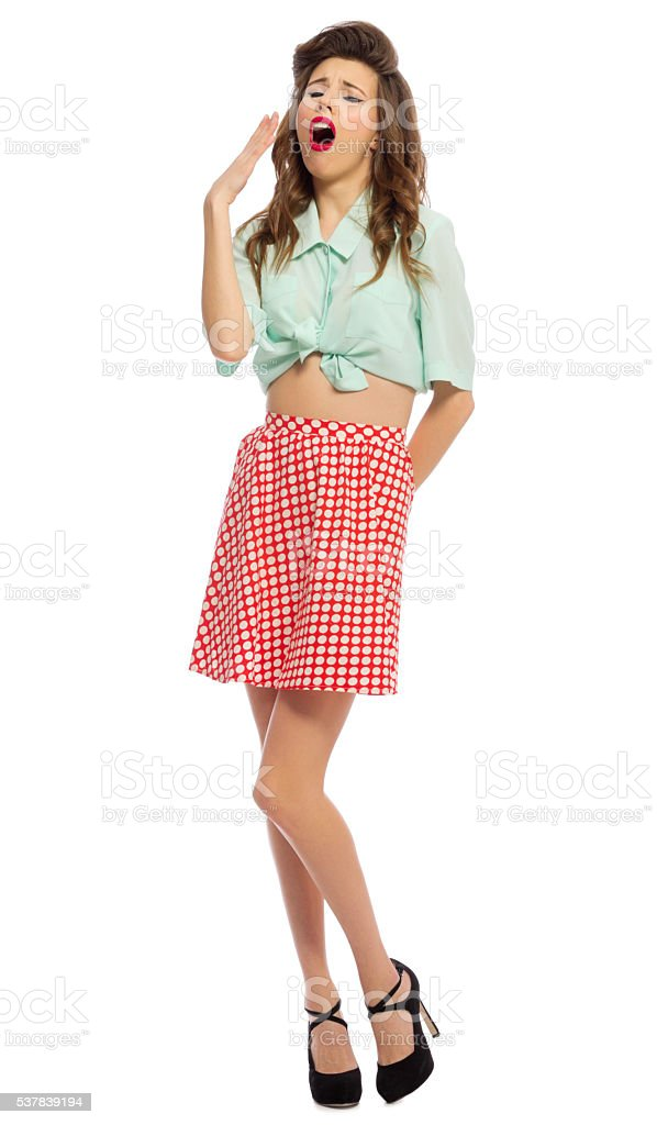 Pinup girl isolated stock photo