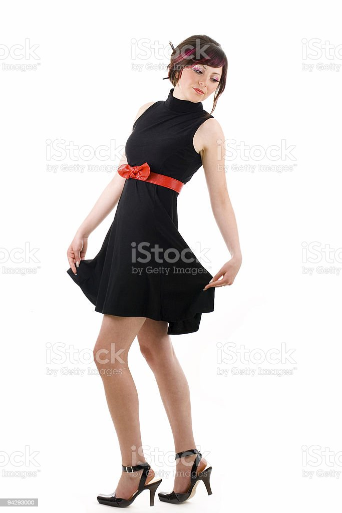 Pin-up girl on a high heels royalty-free stock photo