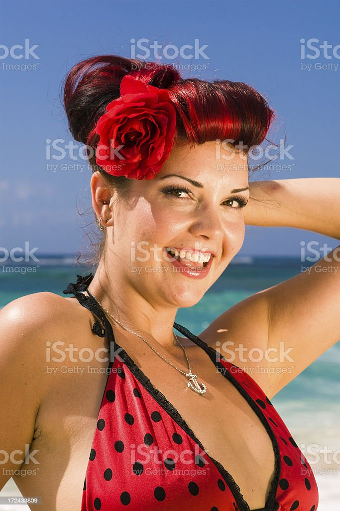 Pin-up girl on beach royalty-free stock photo