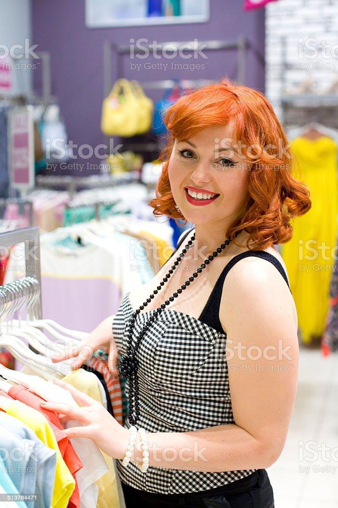 Pin-up girl shopping stock photo