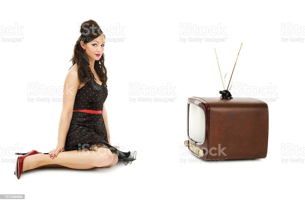 Pinup Girl with Antique TV royalty-free stock photo