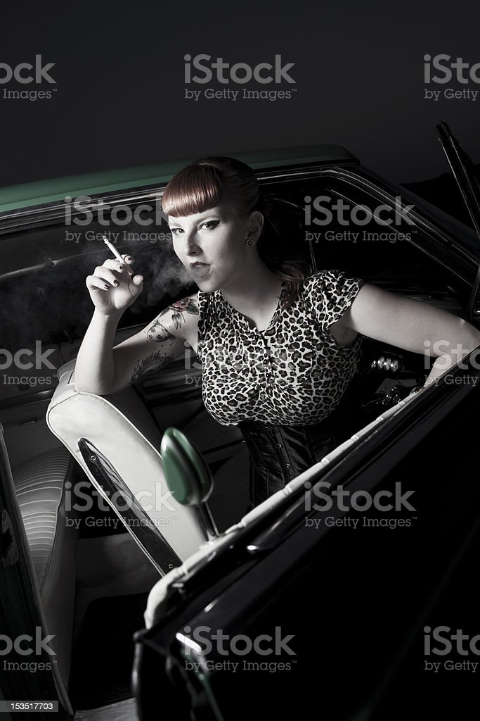 pin-up girl with cigarette royalty-free stock photo