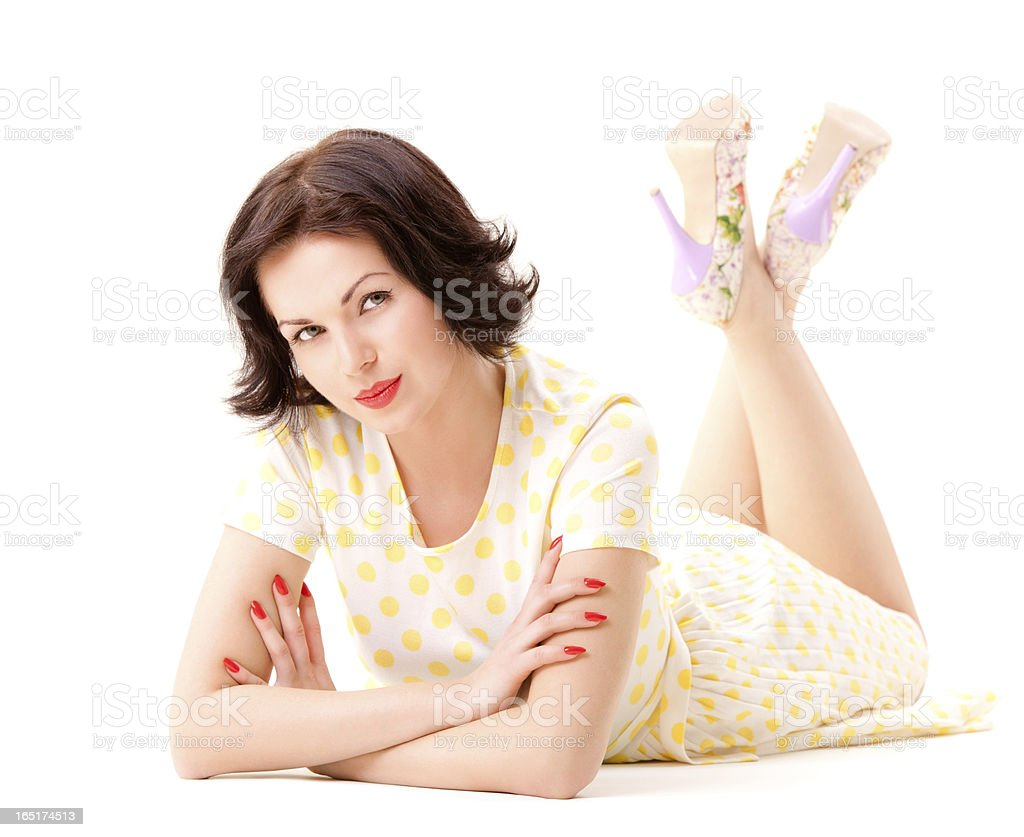 Pin-up portrait on white royalty-free stock photo