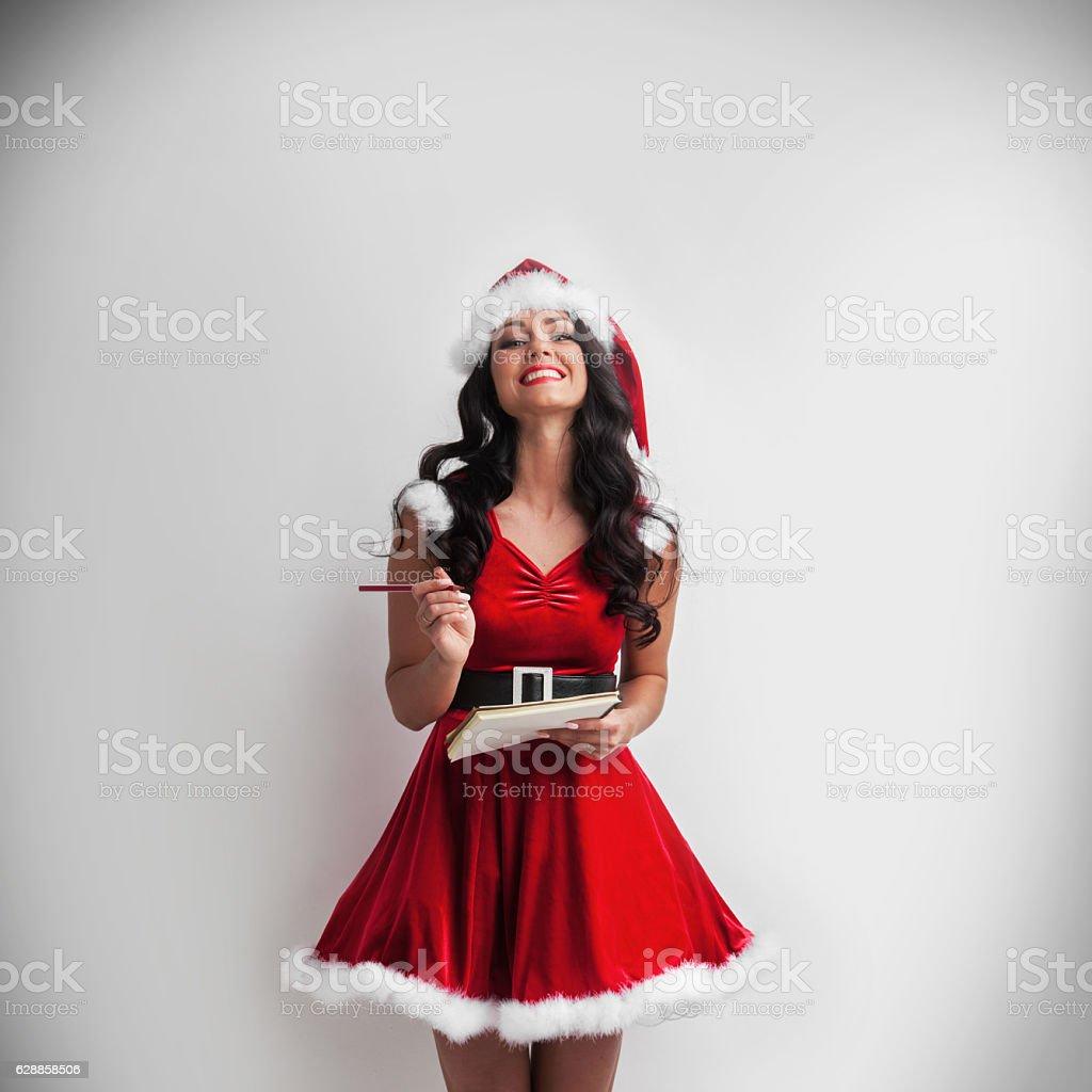 Pin-up Santa girl stock photo