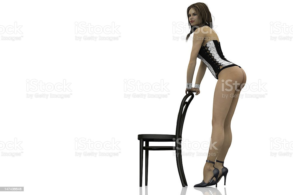 pin-up standing at a chair stock photo