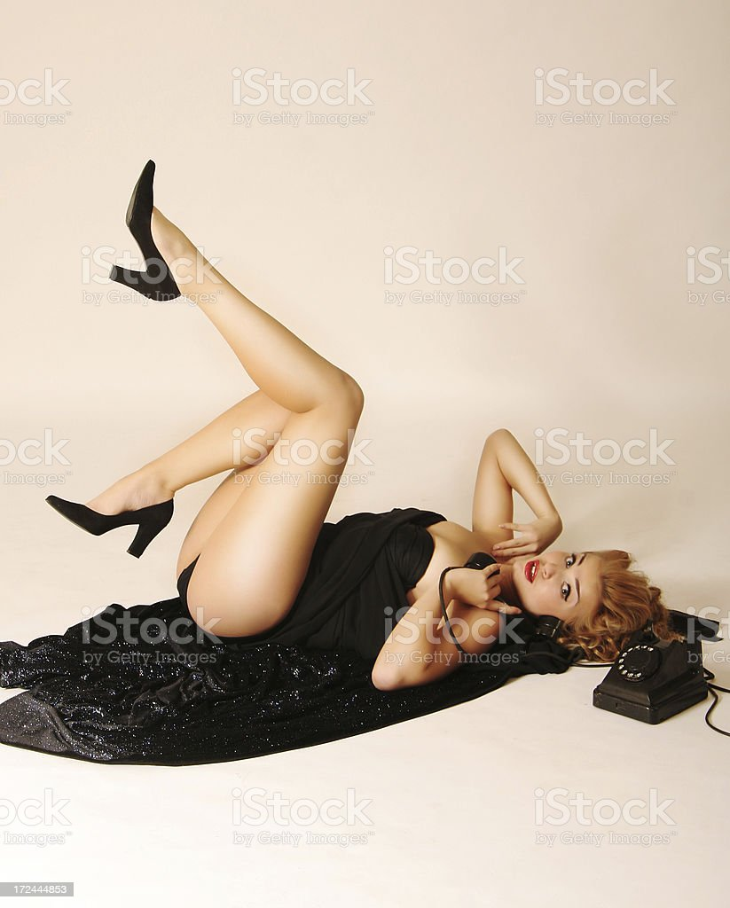 Pin-up Style. Long-awaited conversation stock photo