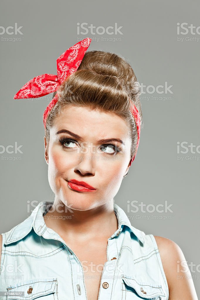 Pin-up style woman, Studio Portrait stock photo