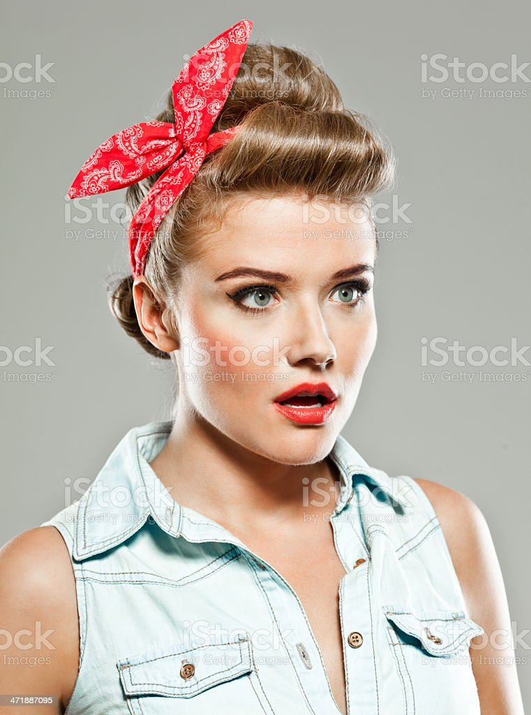 Pin-up style woman, Studio Portrait royalty-free stock photo