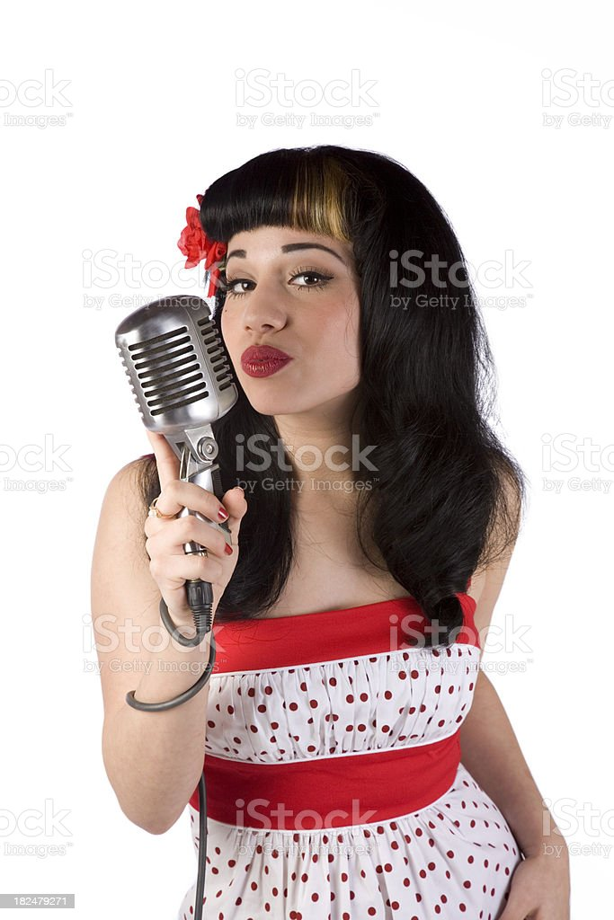 Pin-up with Microphone stock photo
