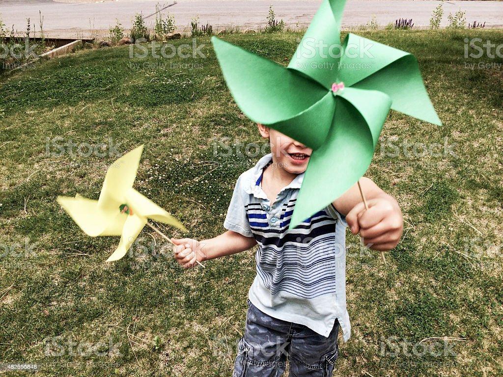 Pinwheel summer fun stock photo