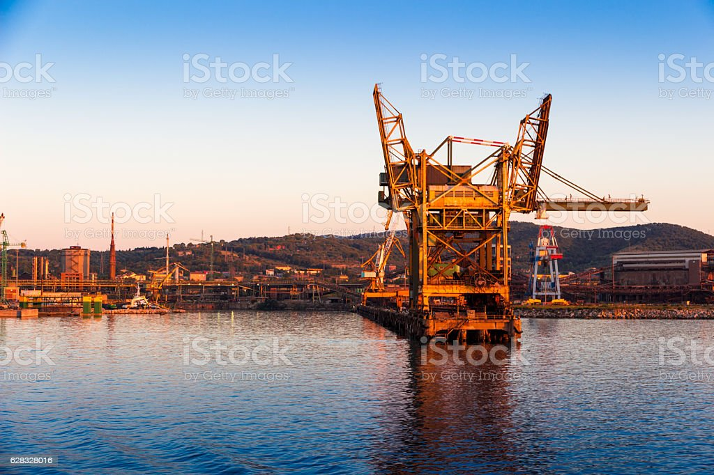Piombino industrial port in Tuscany stock photo