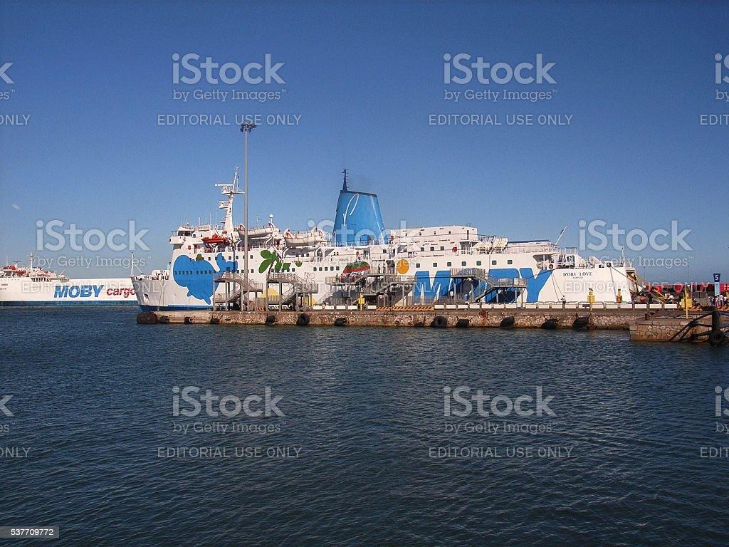 Piombino - Sbarco dal traghetto stock photo