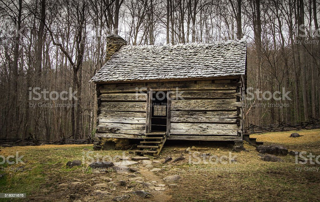 Pioneer Cabin In The Smoky Mountains National Park stock photo