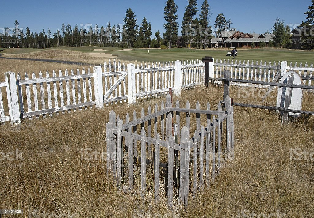 Pioneer cemetery on golf course royalty-free stock photo