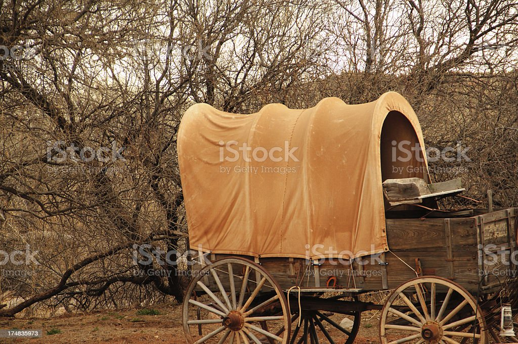Pioneer Covered Wagon stock photo