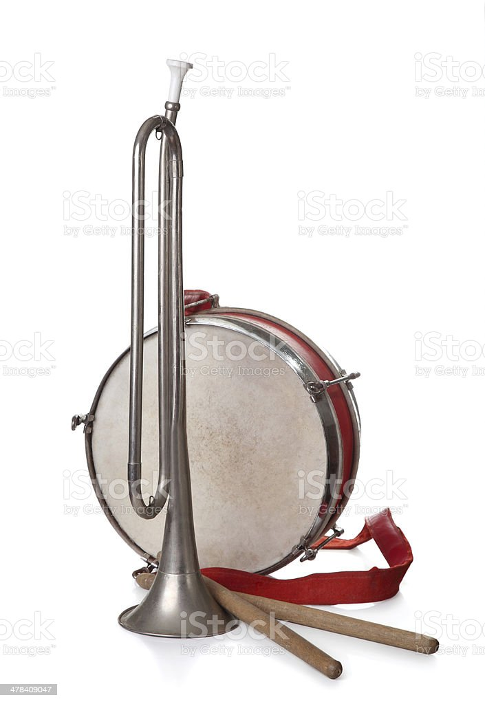 Pioneer Drum and bugle isolated on a white background royalty-free stock photo