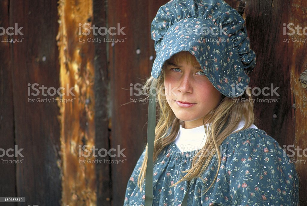 Pioneer Girl Close stock photo