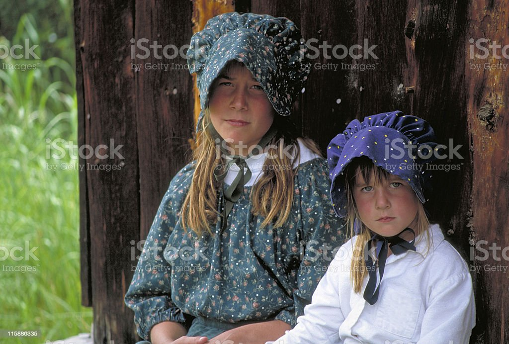 Pioneer Girls royalty-free stock photo