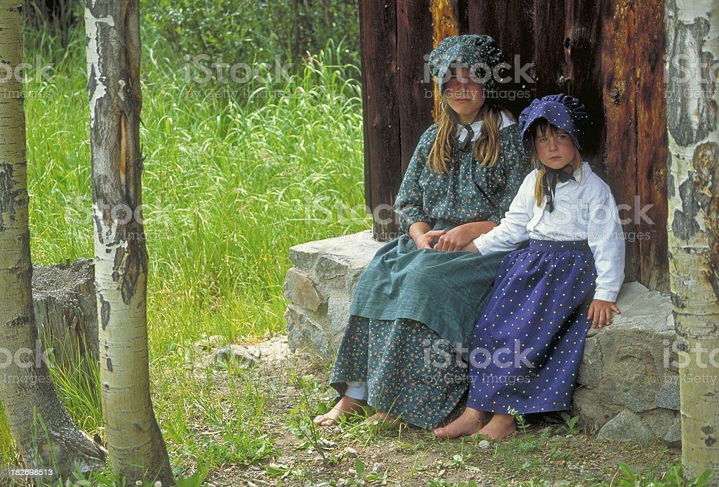 Pioneer Girls royalty-free stock photo