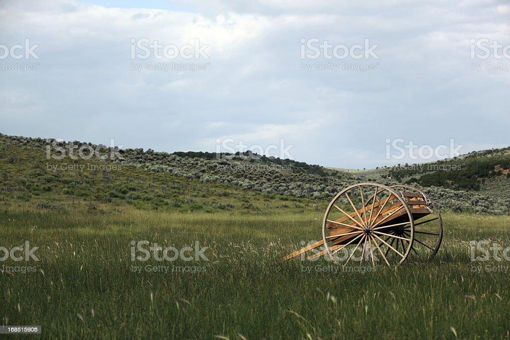 Pioneer Handcart In Meadow stock photo