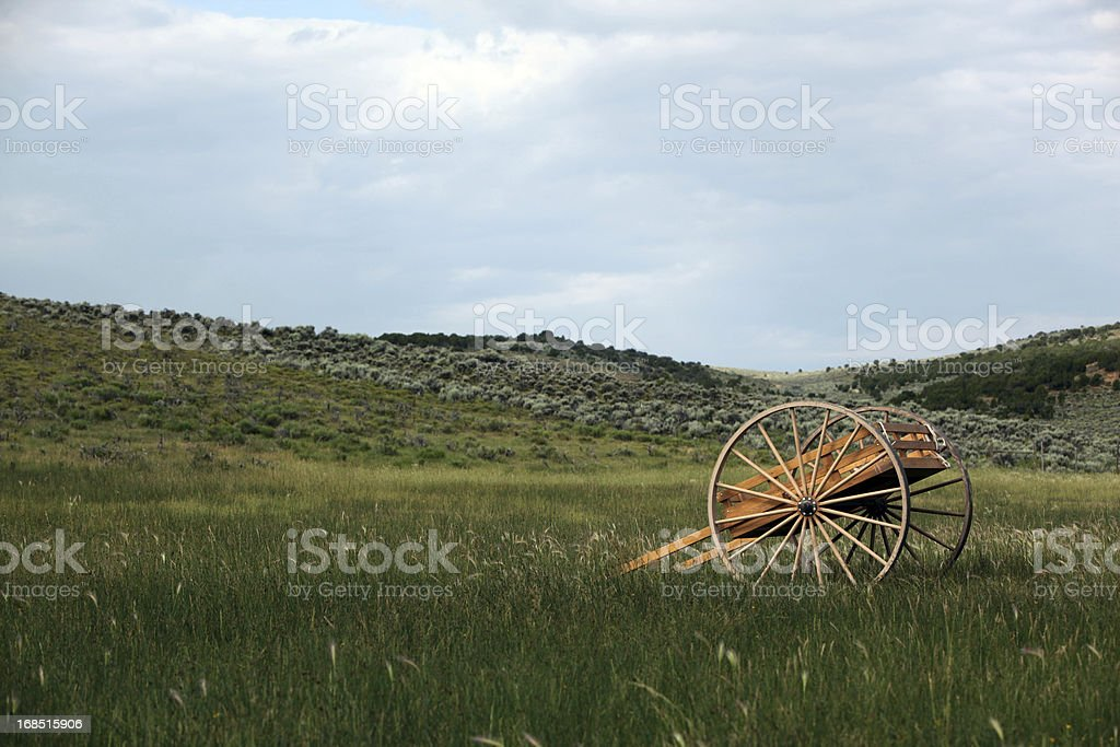 Pioneer Handcart In Meadow stock photo