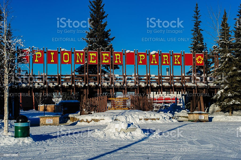 Pioneer Park in Winter stock photo