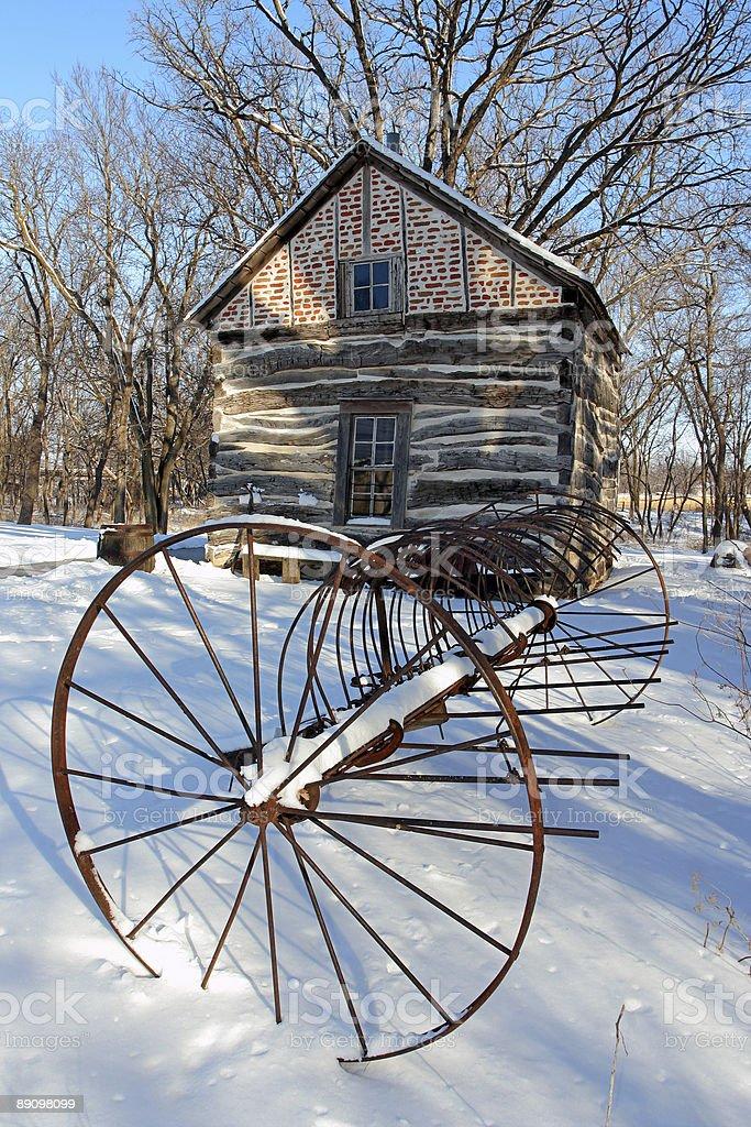 Pioneer Rake and Cabin royalty-free stock photo