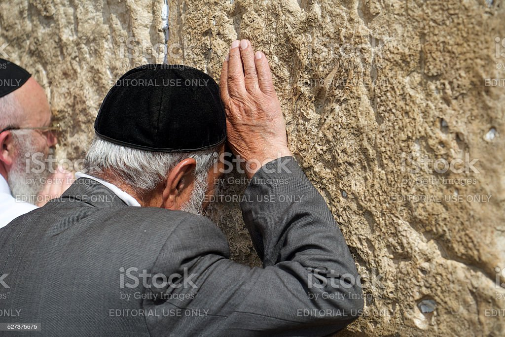 Pious Elderly Jew at Western Wall stock photo