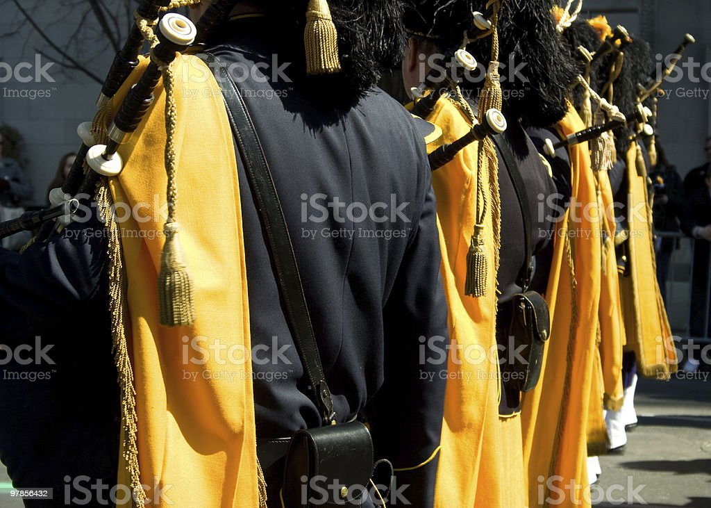 Pipe and Drum Corps Yellow stock photo