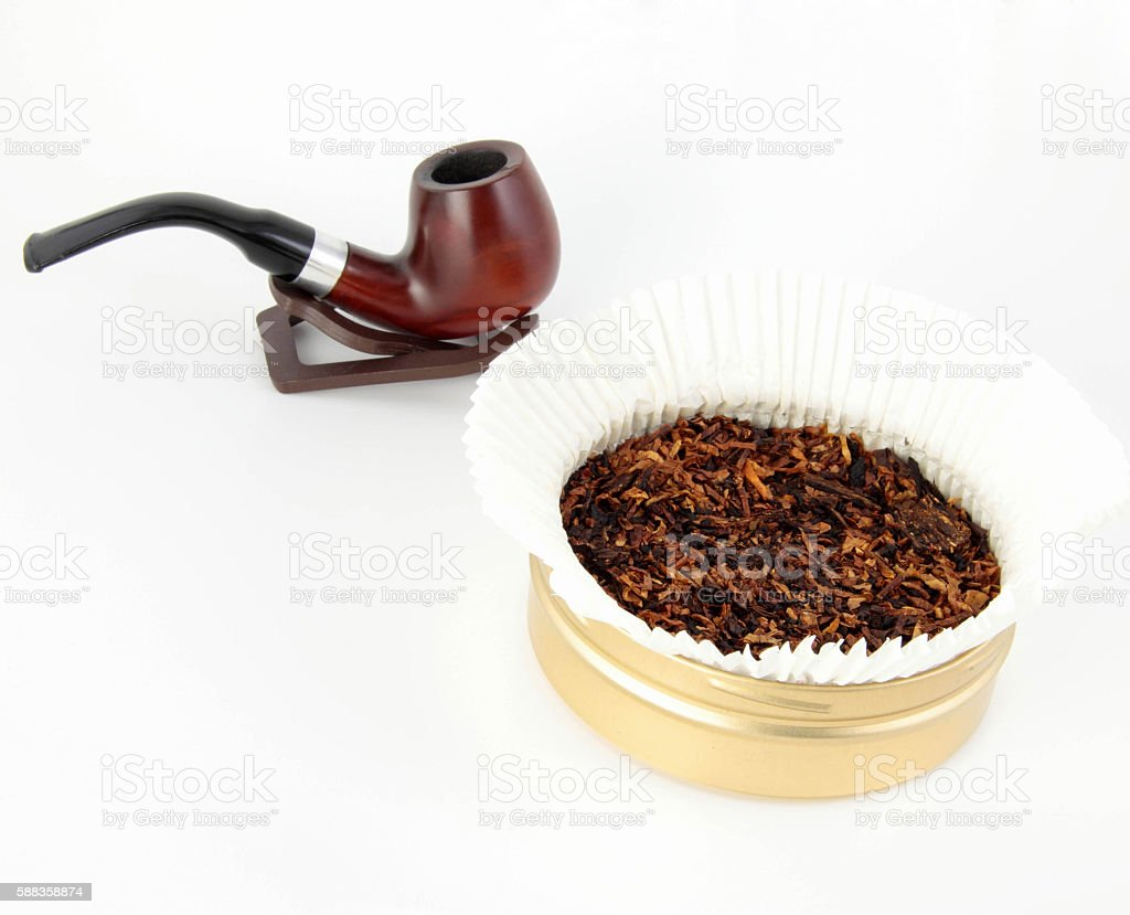 pipe and tobacco isolated stock photo