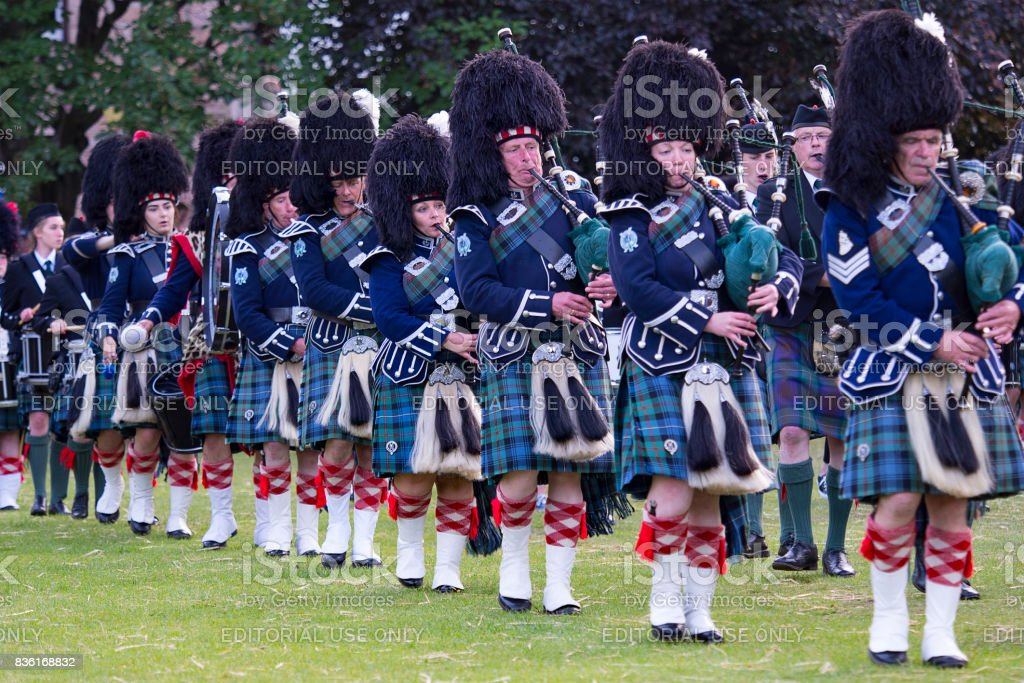 Pipe Band in Ballater, Scotland stock photo