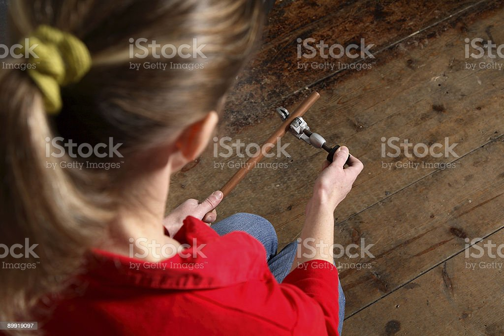 Pipe cutting royalty-free stock photo