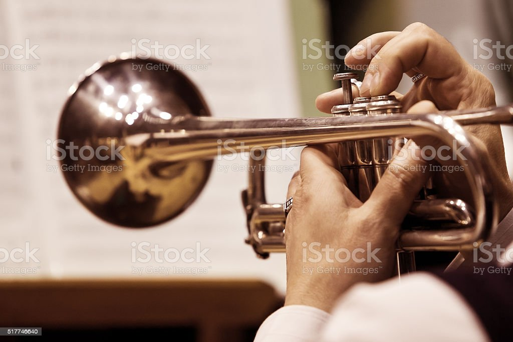 Pipe in the hands of the musician stock photo