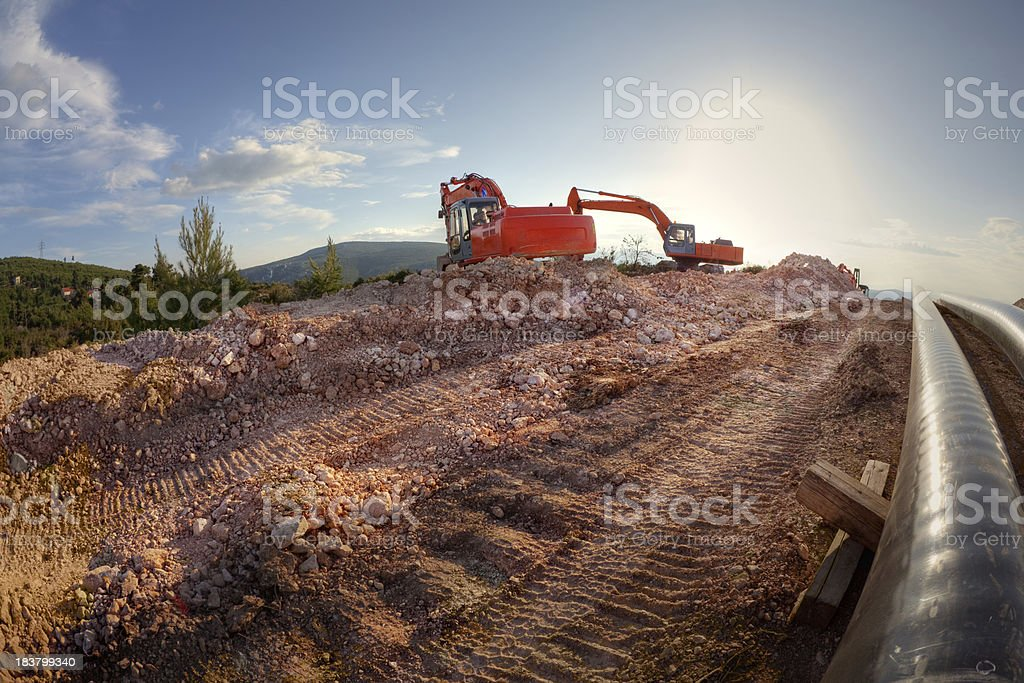 Pipe laying stock photo