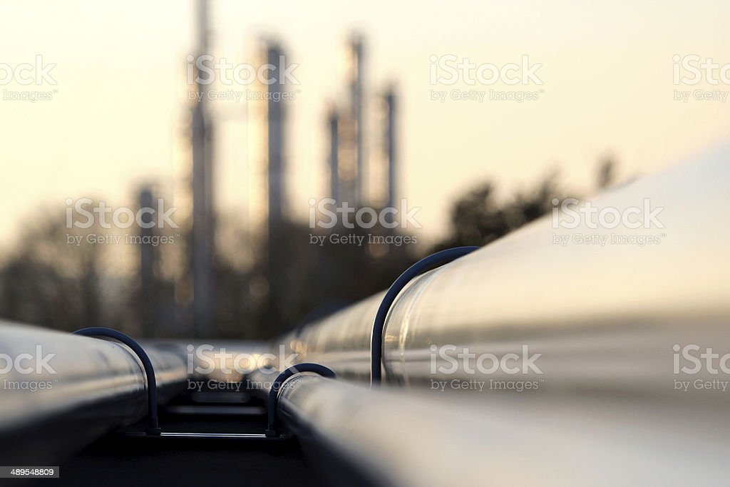 pipe line conection in oil refinery stock photo