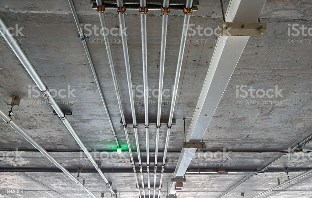 Pipe of electricity line stock photo