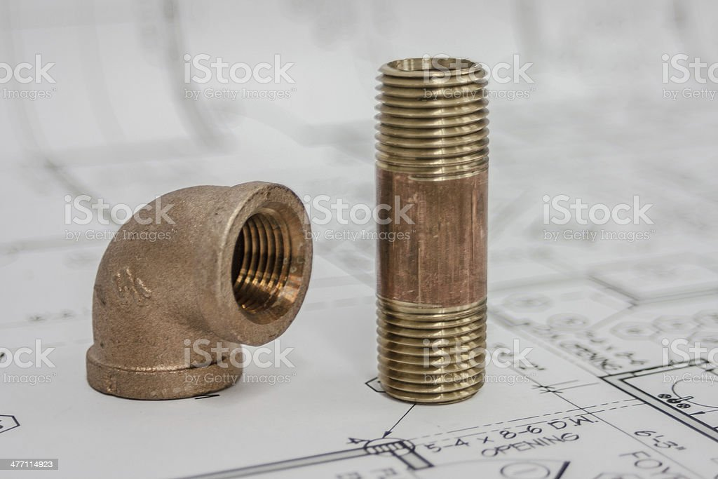 pipe on blueprint royalty-free stock photo