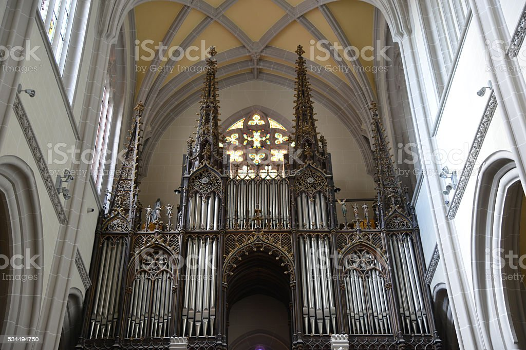 pipe organ in Saint Elisabeth Cathedral stock photo