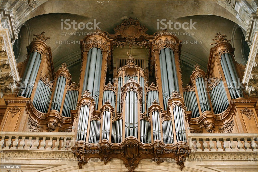 Pipe organ in the cathedral of Nancy stock photo