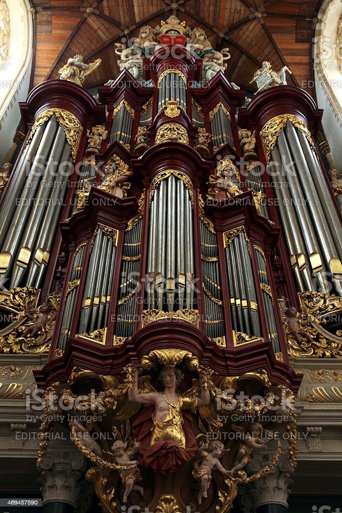 Pipe organ in the Grote Kerk, Haarlem, Netherlands. stock photo