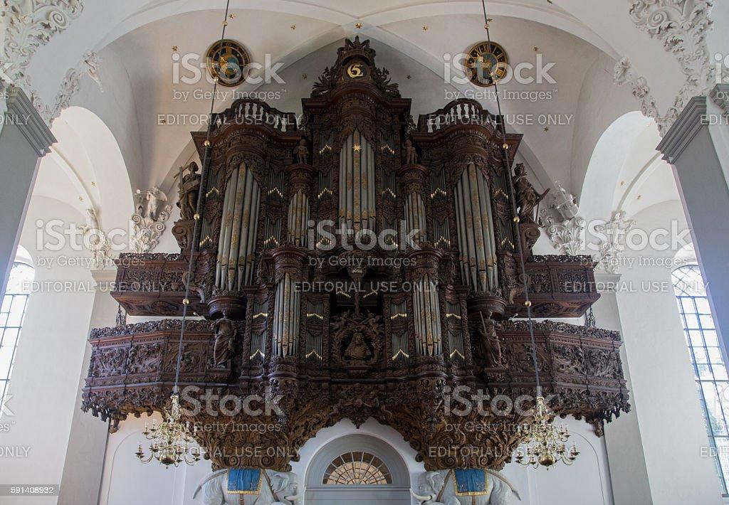 Pipe Organ inside Vor Frelsers Church, Copenhagen stock photo