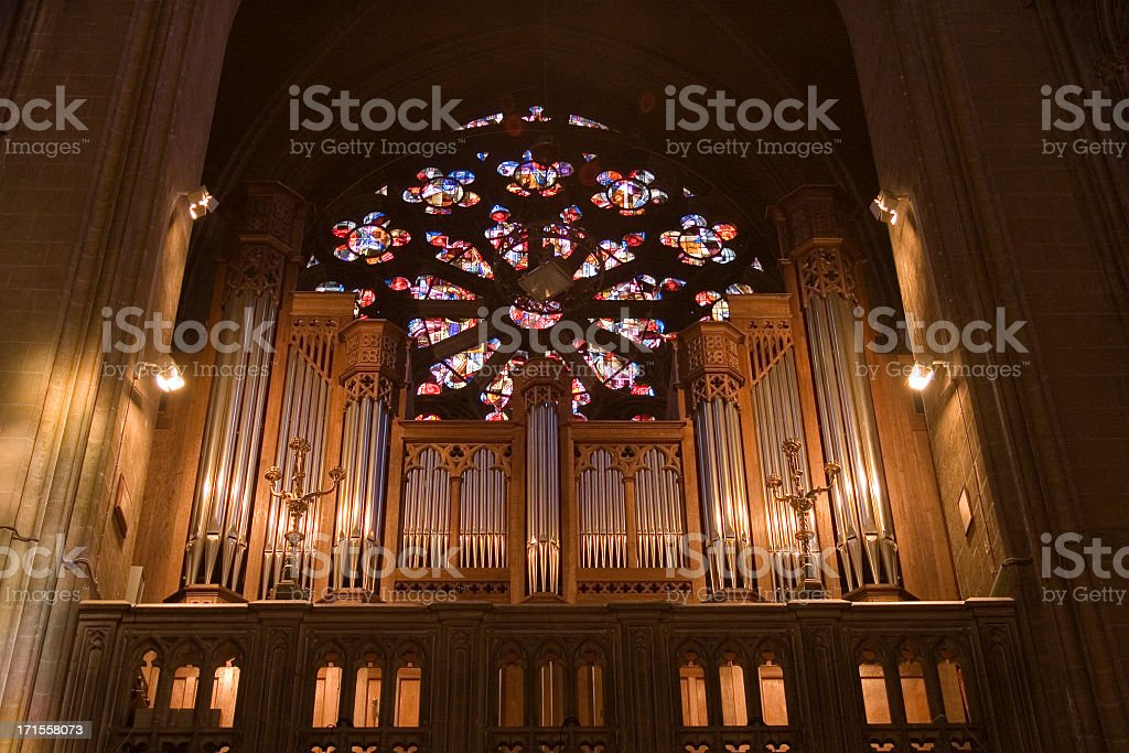 Pipe organ, Ostend Cathedral, Belgium royalty-free stock photo